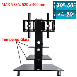 Tempered Glass TV Stand with Bracket For 42