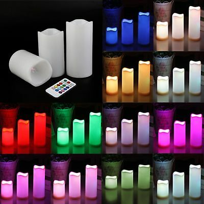 """3pc LED Flameless Candles 4"""" 5"""" 6"""" Pillar 12 Color Changing w/ Remote No Flame"""