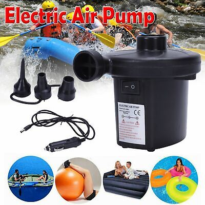 Electric Air Pump Inflator for Inflatables Camping Bed pool 240V 12V Car UK