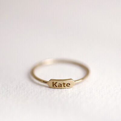 Personalized Name Plate Ring, 10K 14K Name Band, Monogram Ring, Stacking Jewelry 10k Personalized Name Ring