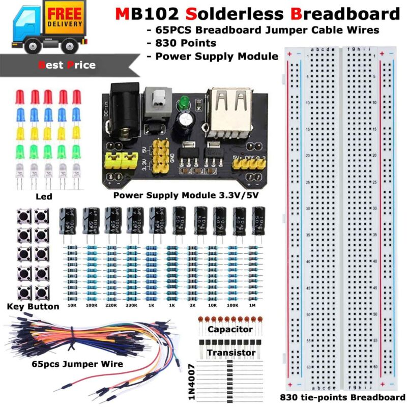 MB-102 MB102 Solderless Breadboard Protoboard 830 Tie Point Test Circuit PCB Set