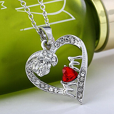 Mothers Day Gift Heart Mom Necklace Pendant Gifts Rose Crystal Jewelry Unique