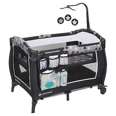 Baby Pack And Play with Mobile and Bassinet Black and White Stars
