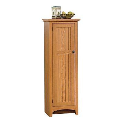 Utility Pantry (Oak Finish Pantry Storage Cabinet Shelving Laundry Broom Closet Organize Utility )