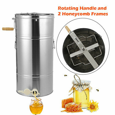 Manual 2 Frame Honey Extractor Stainless Steel Honeycomb Beekeeping Hive Equip