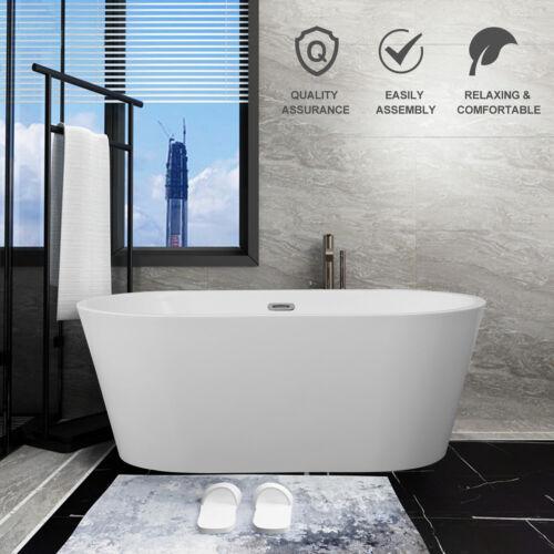 "60"" Modern Freestanding Acrylic Bathtub Stand Alone Soaking Tub w/Chrome Finish"