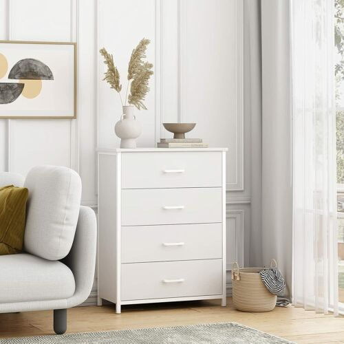 White Dressers Chest Of Drawers 4 Drawer Wood Finish Bedroom Storage Nightstand