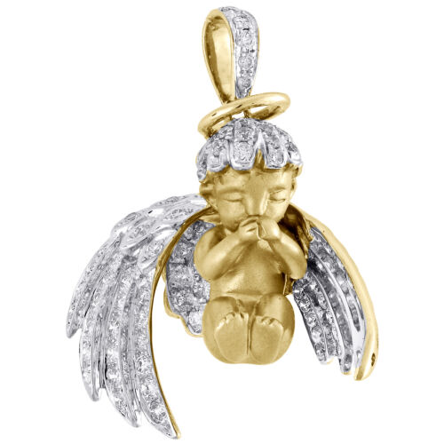 10K Yellow Gold Diamond Halo 3D Baby Angel Pendant 3D Wings