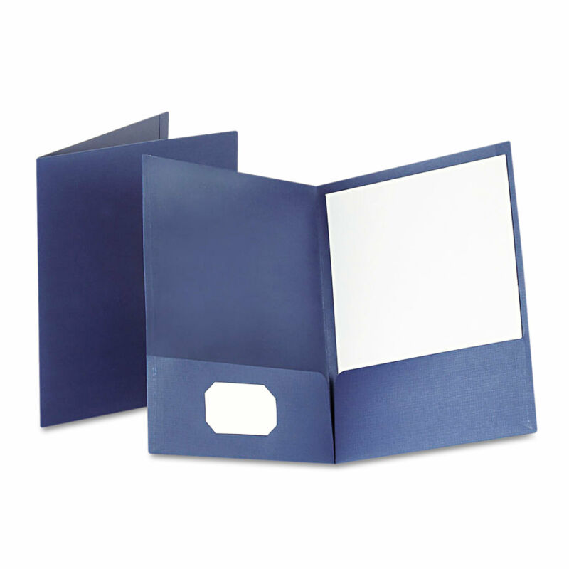Oxford Linen Finish Twin Pocket Folders Letter Navy 25/Box 53443