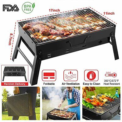 BBQ Barbecue Grill Large Folding Portable Charcoal Stove Camping Garden Outdoor