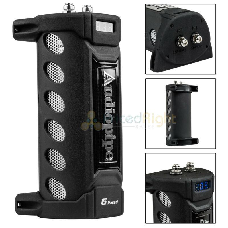 6 Farad Capacitor Audiopipe ACAP-6000 12V Car Audio Blue 3 Digit Digital Display