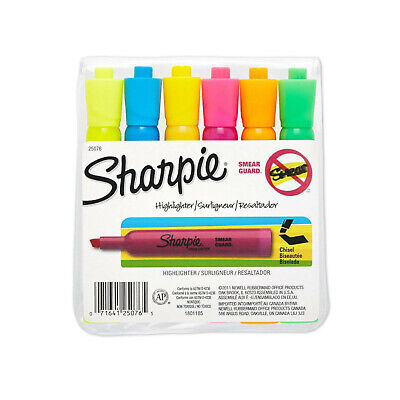 Sharpie Tank Style Highlighters Chisel Tip Assorted Colors 6-count
