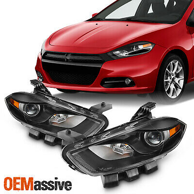 Fit Dodge Dart [Halogen Type] Black Housing Projector Headlight Lamp Replacement