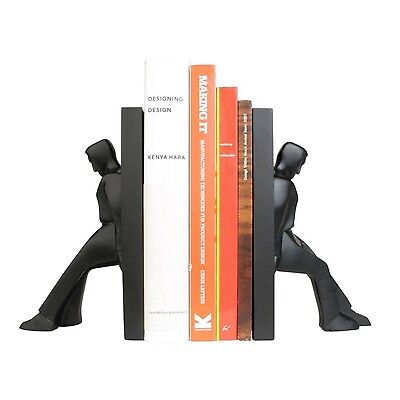 Kikkerland Set Of 2 Leaning Men Bookends Pair Solid Resin Book Ends Home Decor