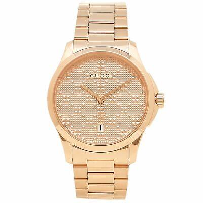 Gucci YA126482 Men's G-Timeless Rose Gold Diamond Pattern Quartz Watch