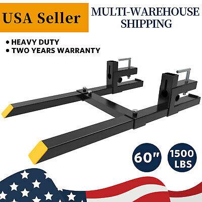 1500lbs 60 Tractor Clamp On Pallet Forks Bucket Quick Attach W Stabilizer Bar