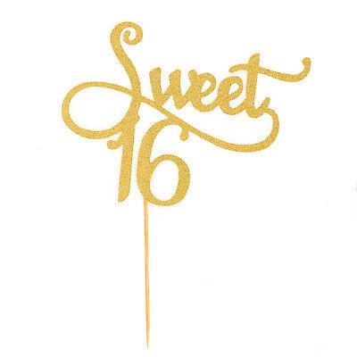 Torten Kuchen Topper Sweet 16 Geburtstag Deko Muffin Cupcake Aufsatz - Gold - Geburtstag Cupcake