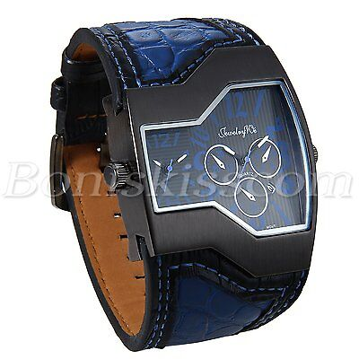 Mens Sports Military Army Dual Time Zones Leather Strap Date Quartz Wrist Watch
