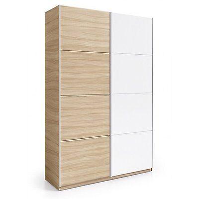 Armario corredera 2 puertas, mueble armario habitacion, Nature y Blanco Brillo