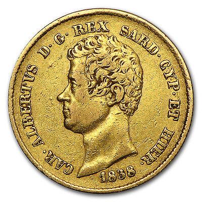1831-1849 Sardinia Gold 20 Lire Carlo Alberto Avg. Circ.