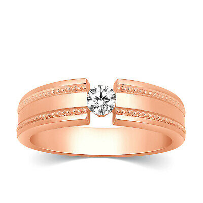 Mens 10k Rose Gold Diamond Channel Set Solitaire Wedding Band Ring 0.20 Ct