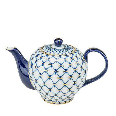 Russian Cobalt Blue Net Medium Teapot, Saint Petersburg 24 Kt Gold Bone China Lomonosov Blue Net
