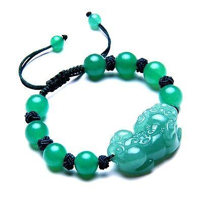 Feng Shui Handmade Green Aventurin beads with Pi yao /Pi xiu bracelet for wealth