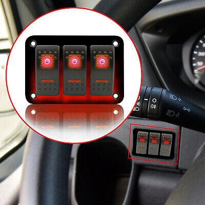 3 Gang Car Marine Boat Rocker Panel Switch Red LED Circuit Control Waterproof Light Control Circuit