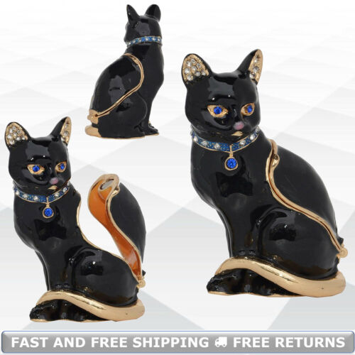 Cat Trinket Box With Hinged Lid Pewter Metal Enamel Bejeweled Crystals Ornament