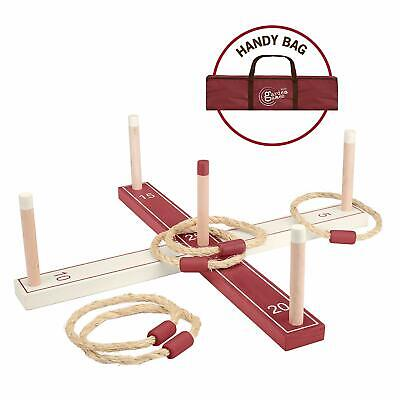 Garden Games Wooden Ring Toss Set Carry Bag Outdoor Fun Traditional Camping BBQ