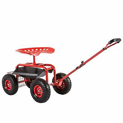 Red Outdoor Garden Swivel Seat Rolling Weeding Chair Wheels Planting Yard Lawn