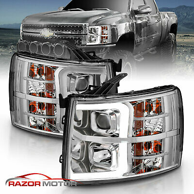 2007-2014 LED Bar Tube Chrome Headlight for Chevy Silverado 1500 2500 3500 HD