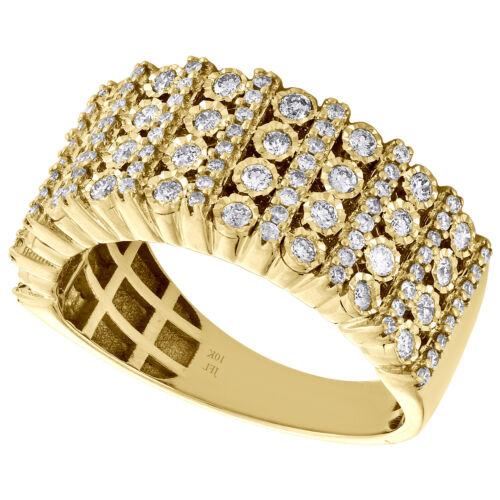 10K Yellow Gold Mens Round Diamond Wedding Band 9mm Miracle Set Ring 0.76 CT. 2