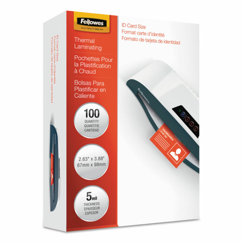 Fellowes Laminating Pouches 5mil 3 7/8 x 2 5/8 100/Pack 52015
