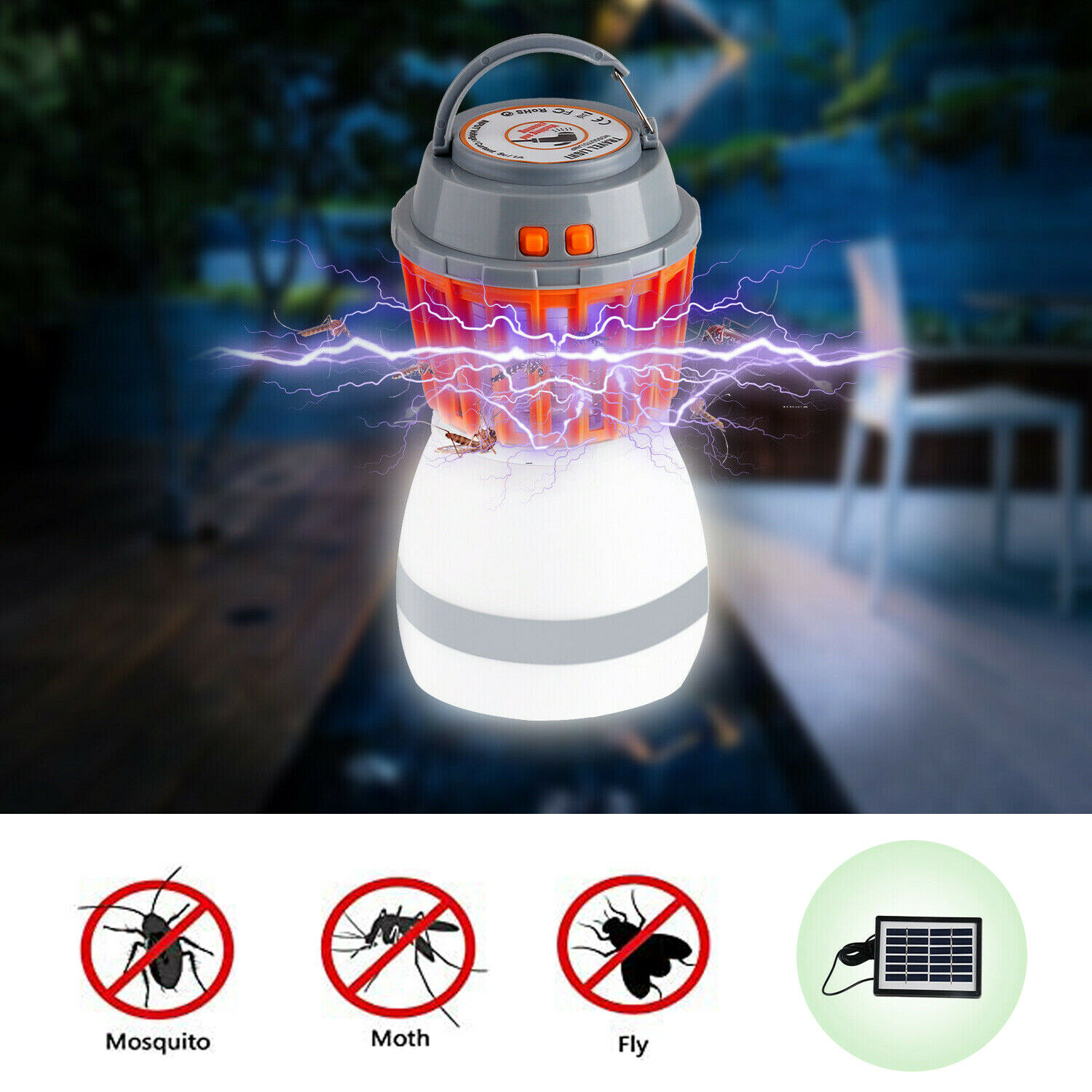 Solar Mosquito Killer Lamp Light Electric Kill Fly Insect Zapper Outdoor Camping Home & Garden