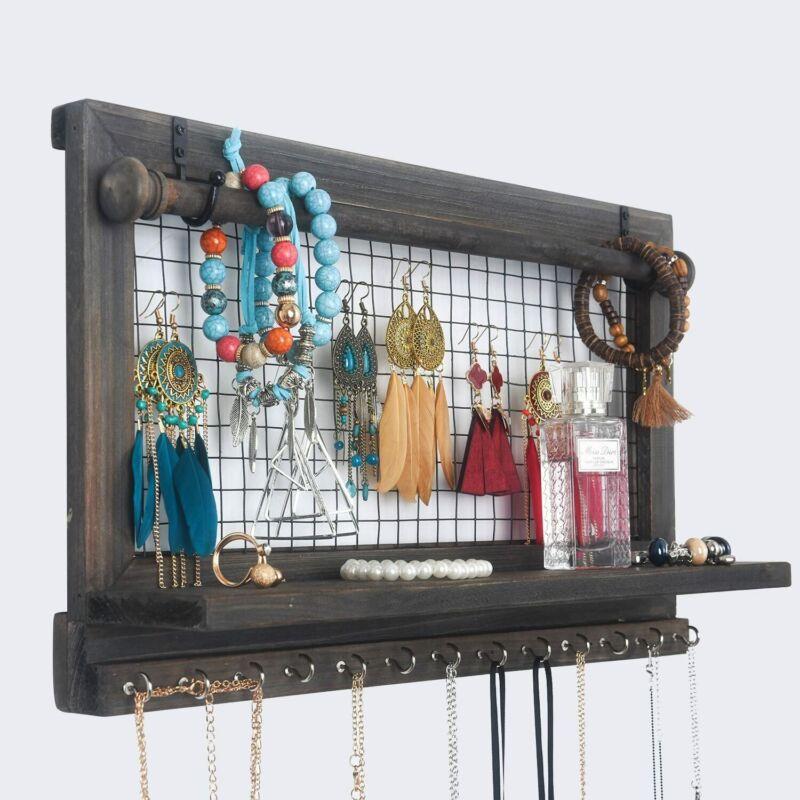 Wall Mounted Hanging Jewelry Organizer Jewelry Holder Organizer Necklace Holder