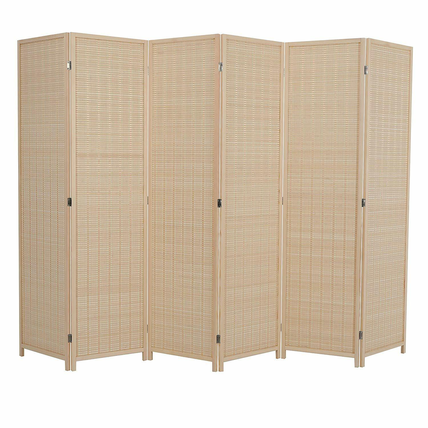 ALPHA HOME 6 Panel Bamboo Room Dividers, 6 ft. Tall Freestan