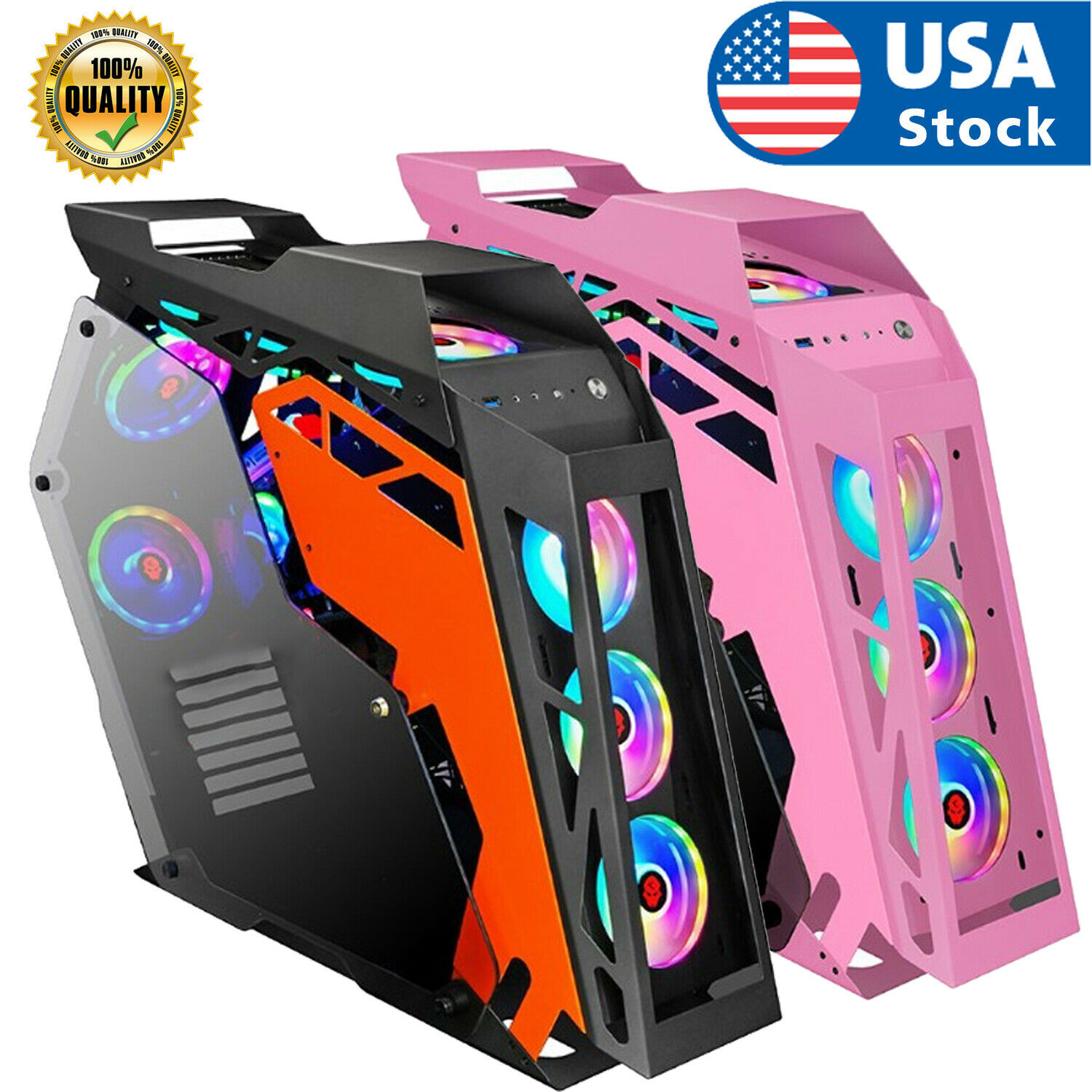 USA ATX/M-ATX Computer Gaming PC Case With Side Windows  with Tempered Glass Computer Cases