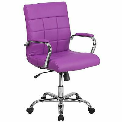 Purple Office Chair Retro Furniture Desk Executive Gaming Quilt Pattern Mid Back