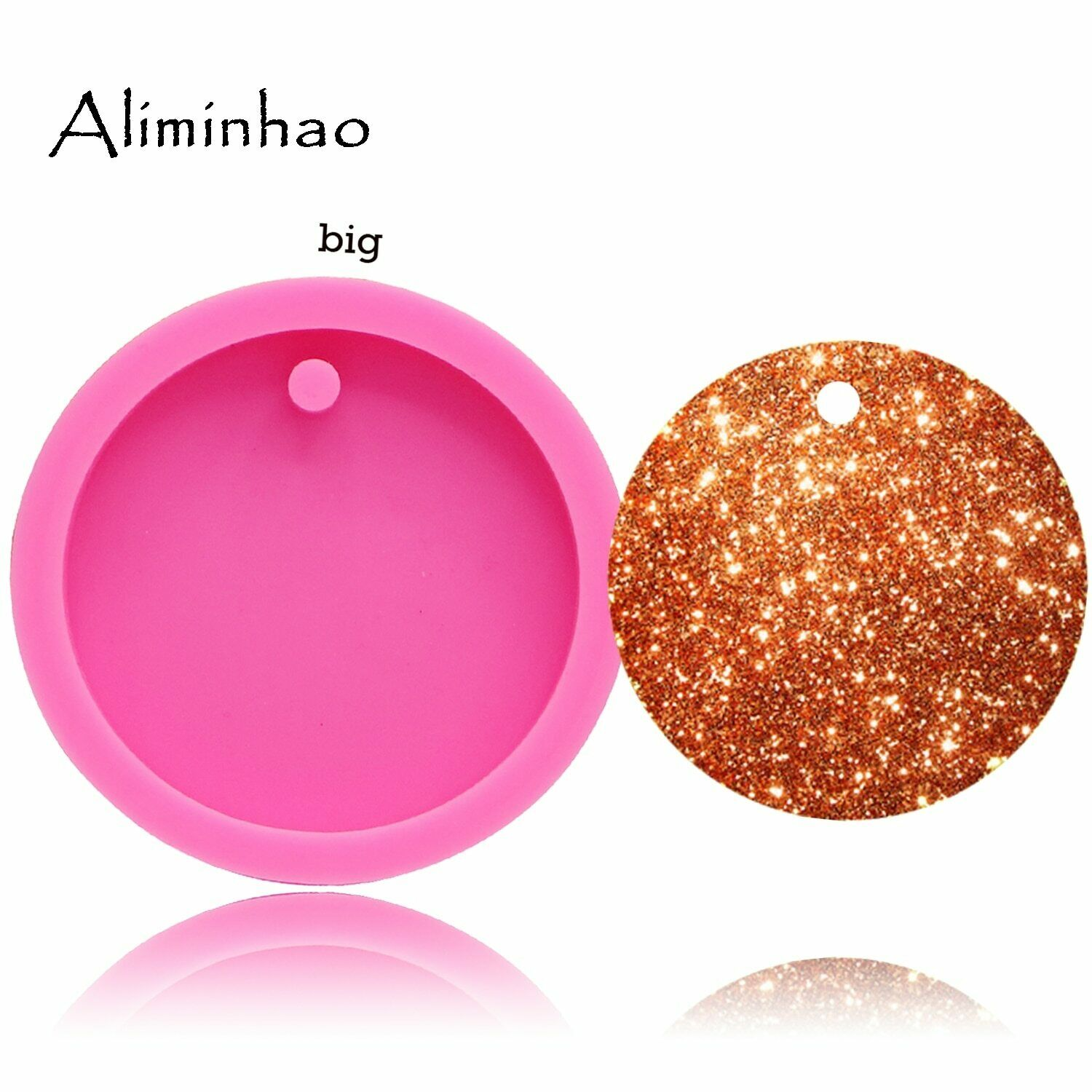 50mm/75mm Round Circle With Hole Disk Keychains silicone mol