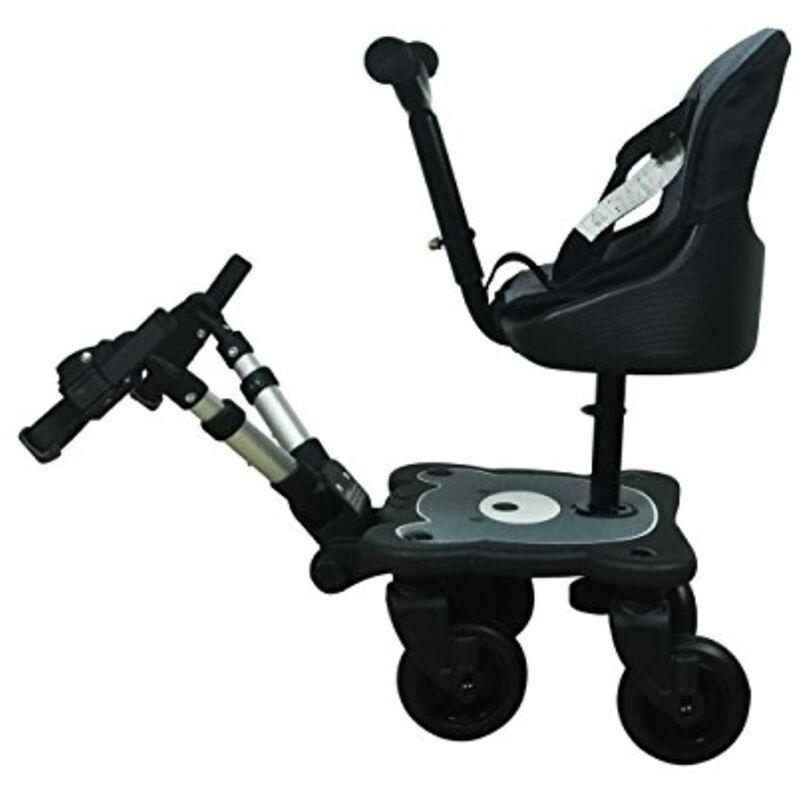 Englacha 2-in-1 Cozy 4-Wheel Rider, Black - Child Rider Stroller Attachment with