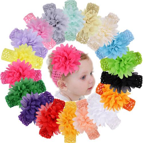 18pcs 4.5 Inch Chiffon Flower Bows Headbands for Baby Girls Infants Toddler Kids
