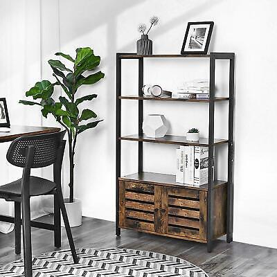 Vintage Industrial Bookcase Tall Side Cabinet Storage Shelving Unit Rustic Metal