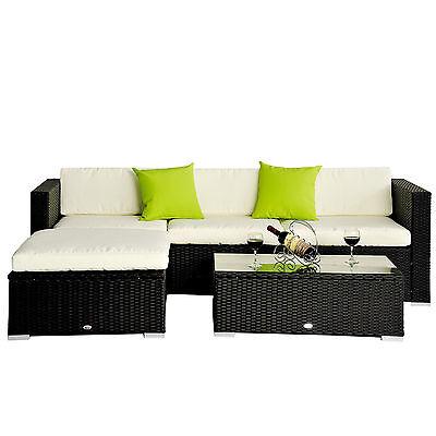 Kinbor 5PC Patio Sofa Set Rattan Wicker Outdoor Garden Furniture, w/ Cushions