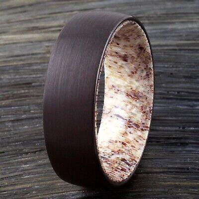 8mm Black Tungsten Deer Antler Wedding Band Ring Jewelry Flat or Beveled - Flat Wedding Band