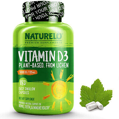 NATURELO Vitamin D - 5000 IU - Plant Based - From Lichen - Best Natural D3
