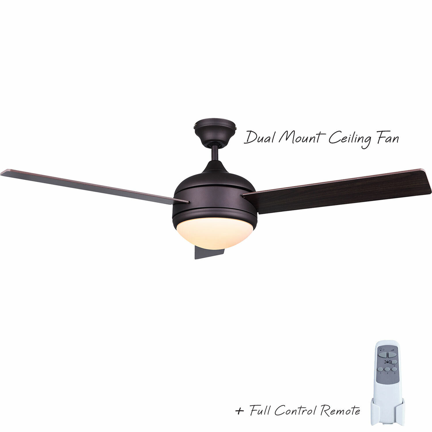 Ceiling Fan 48″ with Light 3 Blade Reversible Walnut or Oak with Remote, Bronze Ceiling Fans