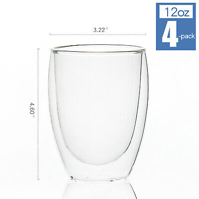 [4Pcs,12oz] Double Wall Coffee Mugs, Large Insulated Glass Tea Cups, Set of 4 - Clear Glass Coffee Mugs