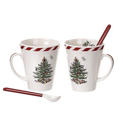 SPODE CHRISTMAS TREE CANDY CANE STRIPES DESIGN TWO MUGS WITH CERAMIC SPOONS NIB - Candy Cane Spoons