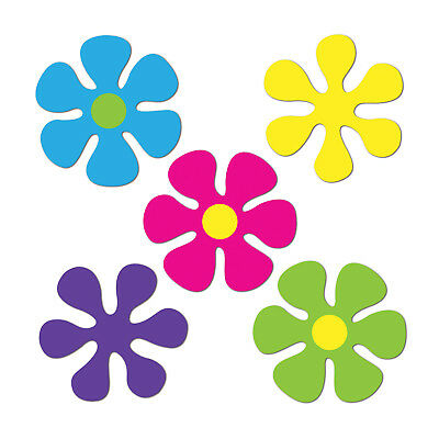 10 Groovy 60s HIPPIE Party Decorations Paper Mini RETRO FLOWER CUTOUTS 4 1/2
